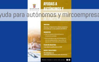 Ayudas del ayuntamiento de Finestrat a autónomos y microempresas